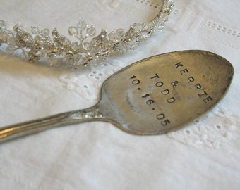 Vintage Silverware Wedding Date Bride Groom Cake Topper Favor Ornament