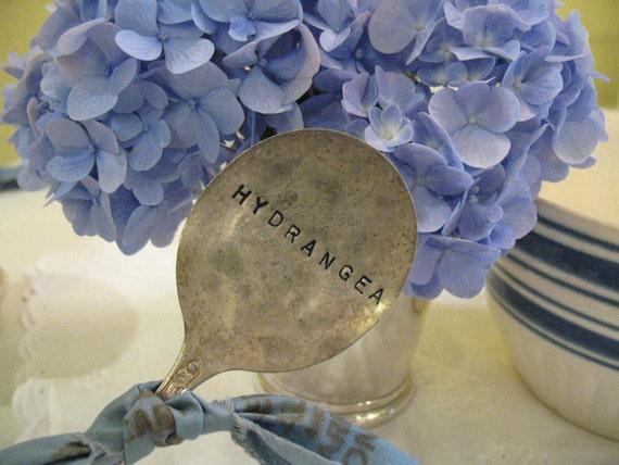 Vintage Silverware Garden Marker Hydrangea Flower