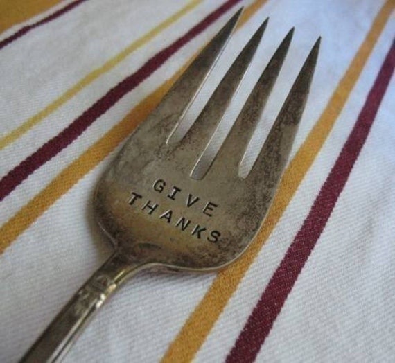 Vintage Silverware Large GIVE THANKS Serving Fork