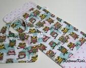 pink and aqua owls bib burp cloth set