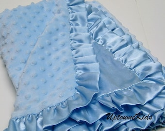Blue Minky Blanket with satin back and ruffle