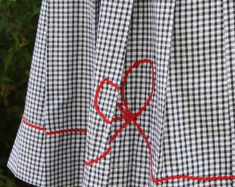 Betsy black white mini gingham dress with red bow