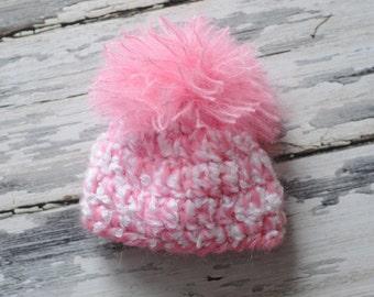 Newborn Pink and White Hat