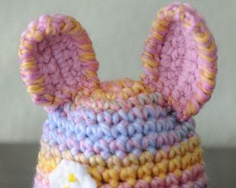 OOAK Spring Colors Wool Bunny Rabbit Newborn Hat