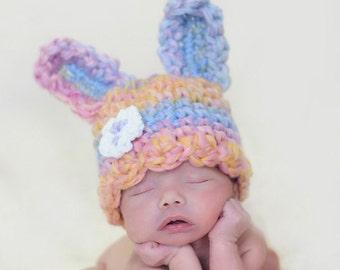 OOAK Spring Colors Wool Bunny Rabbit Newborn Hat 2