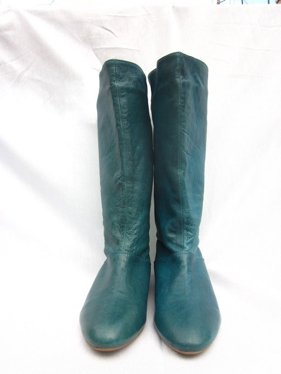 RESERVED Jeffrey Campbell Flat TEAL Buckle Boots Size 6