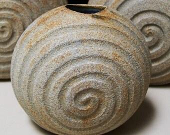 Organic Ceramic HARMONY VASE w/PETROGYPHIC SpiRaL