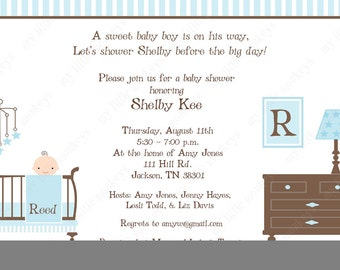 10 Boy Baby Shower Invitations with Envelopes.  Free Return Address Labels