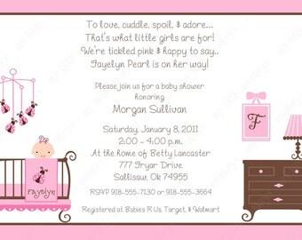 10  Ladybug Girl Baby Shower Invitations with Envelopes.  Free Return Address Labels