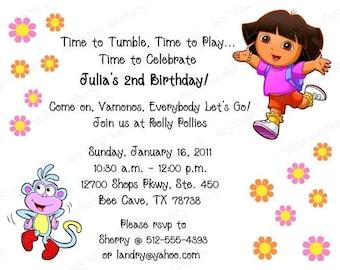 10 Dora Invitations with Envelopes.  Free Return Address Labels