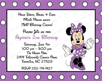 10 Purple Minnie Mouse Invitations with Envelopes.  Free Return Address Labels