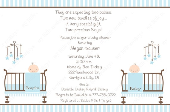 10 Twin Boy Baby Shower Invitations with Envelopes.  Free Return Address Labels