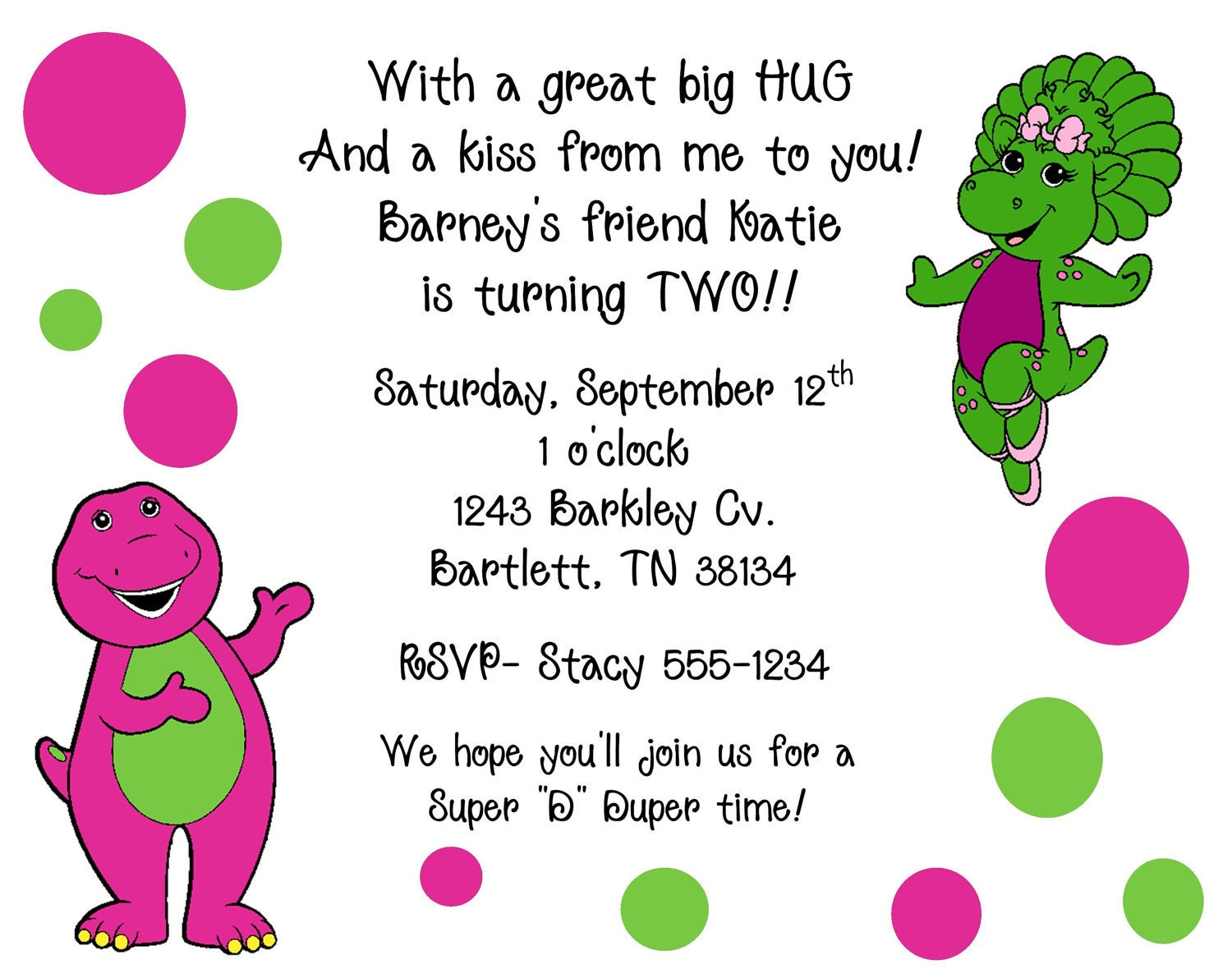 10 Barney & Baby Bop Invitations with Envelopes. by ...