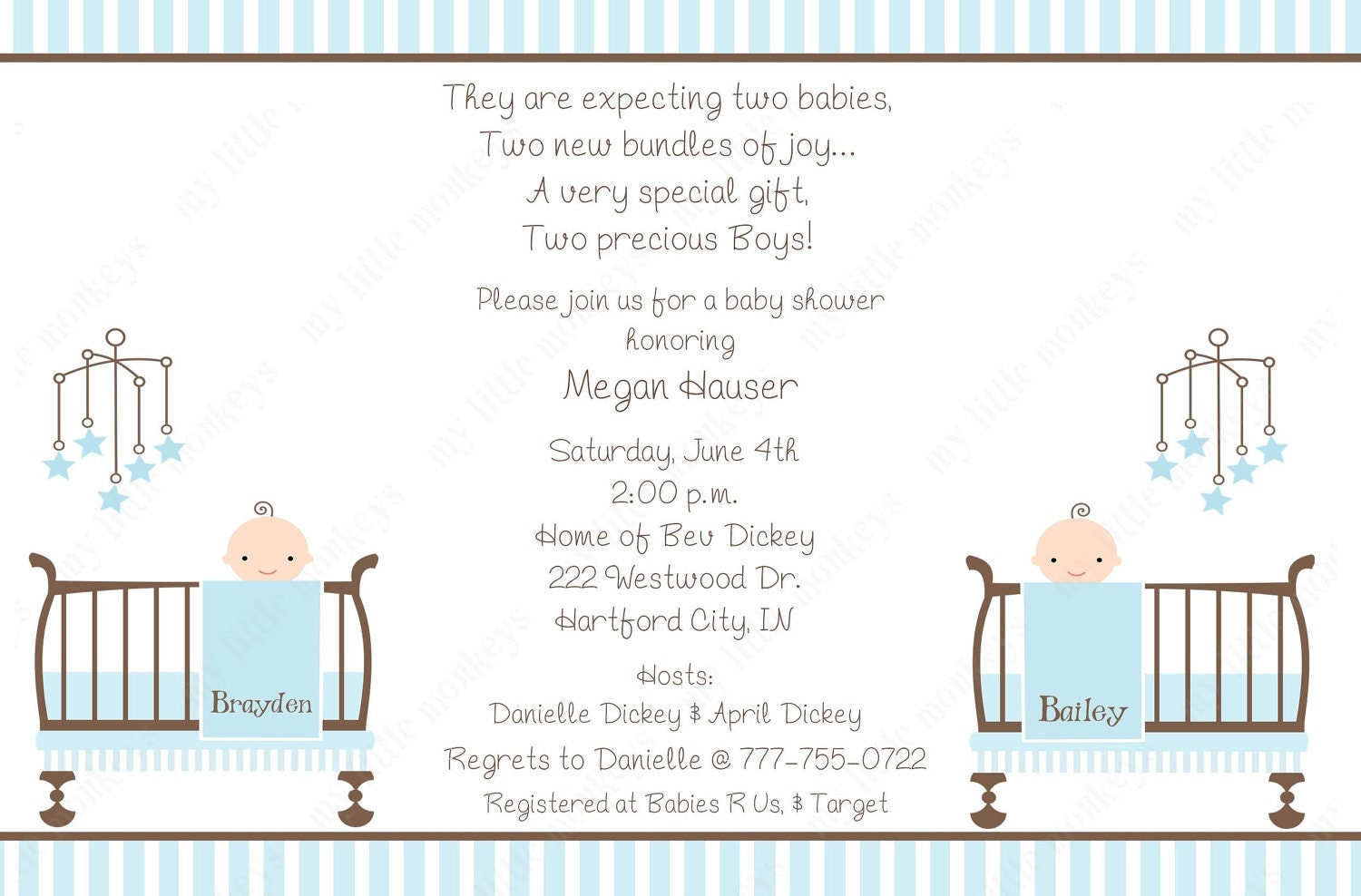 10 twin boy baby shower invitations with envelopes free