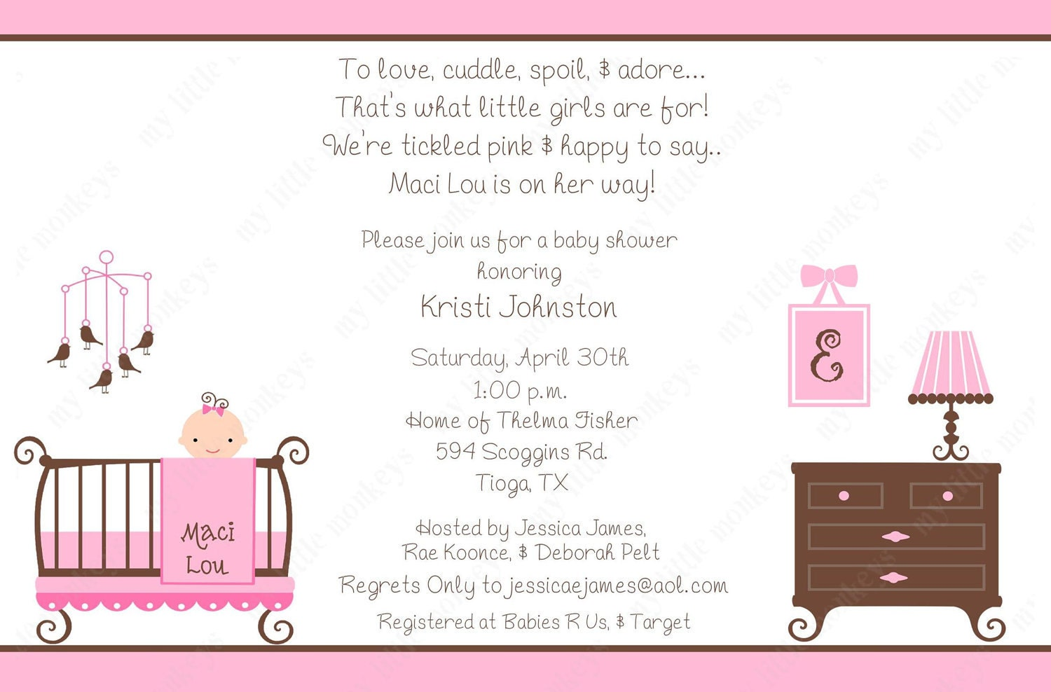 10 Girl Baby Shower Invitations with Envelopes. by BethCloud723