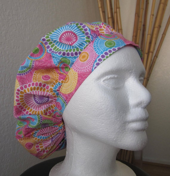 Pastel Starbursts - Bouffant Tie-back Surgical Scrub Hat