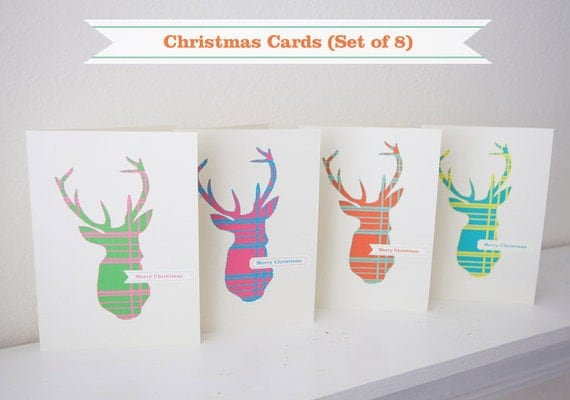 Christmas Cards - Deer / Elk  (Set of 8, Envelopes provided)
