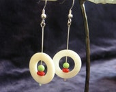White Circle Shell and Stones Earrings Coral Turquoise