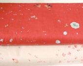 Nani iro brushed cotton fabric 2 yards, red fabric and cream fabric, japanese import