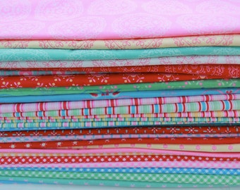 Folk heart fabric bundles by Rosalie Quinlan,quilt fabric , last half yard bundle
