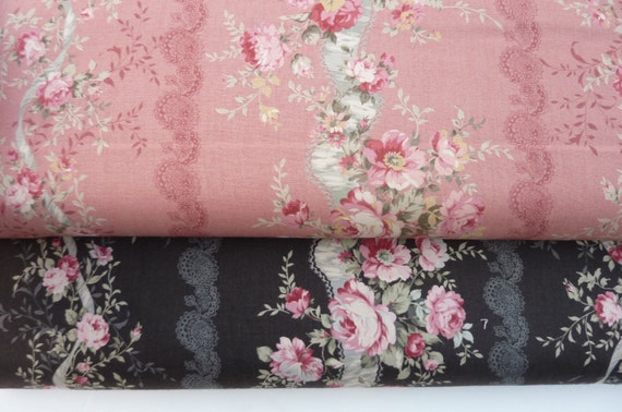 Antique rose ,coral  and  brown fabric 2 yards