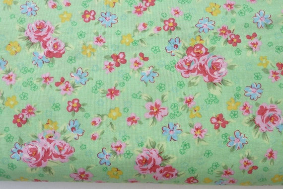 Flower sugar small green with blue red flower fabric,japanese import fabric 2 yards