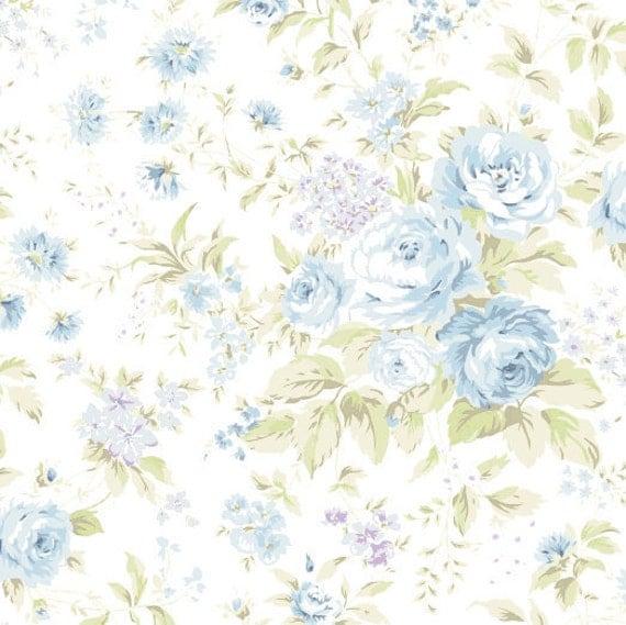 Shabby chic fabric 2 yards , Treasures by Shabby chic Blue big roses