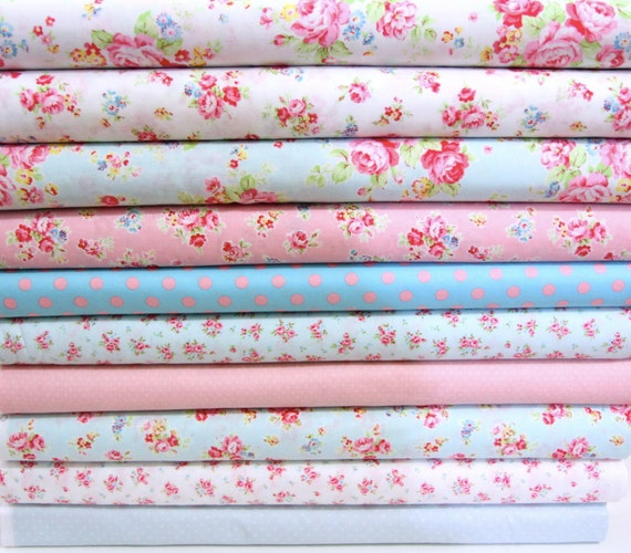 Antique flower in pastel mixed bundles  with dot ,lecien fabric,Just arrived