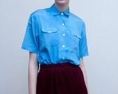 vintage satin blouse / button down blue shirt / S-M