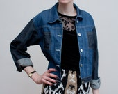 vintage jean jacket / two tone denim / M
