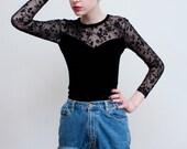 vintage velvet and mesh bodysuit / sweetheart neckline / flocked sleeves / S-M
