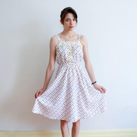 vintage cotton dress / rainbow polka dots / S
