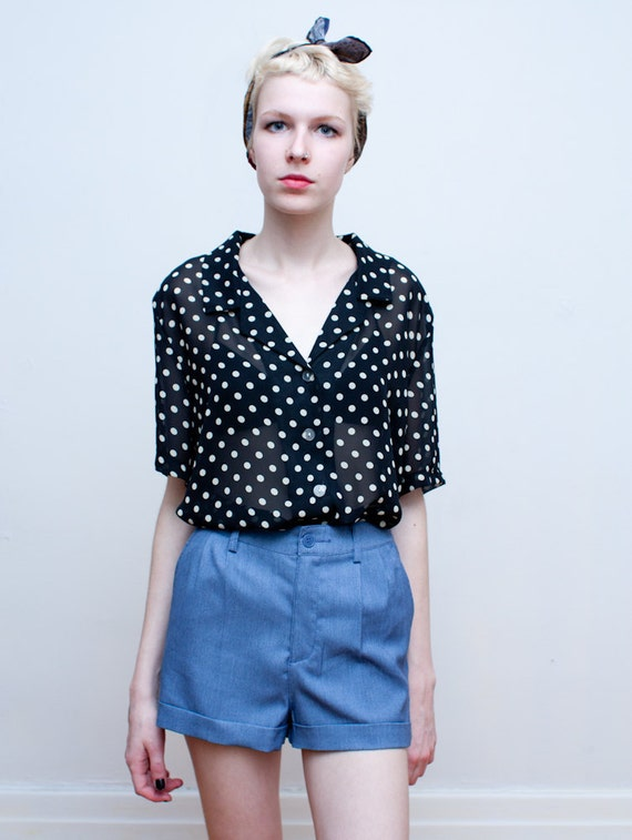 vintage sheer blouse / polka dot slouchy blouse / M-L