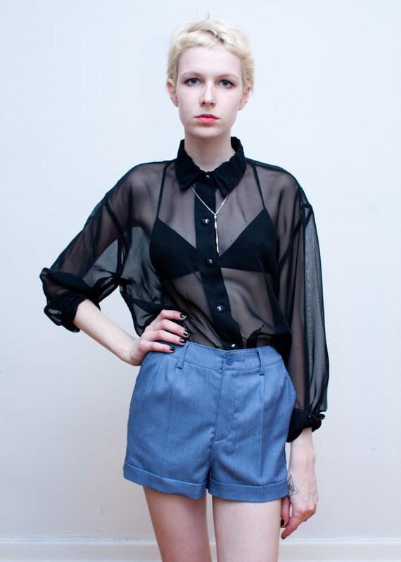 vintage sheer blouse / black chiffon button down / L