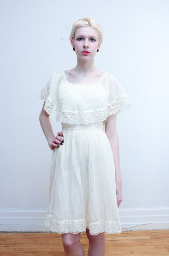 1970s peasant dress / gauzy cream dress with draped collar / S-M