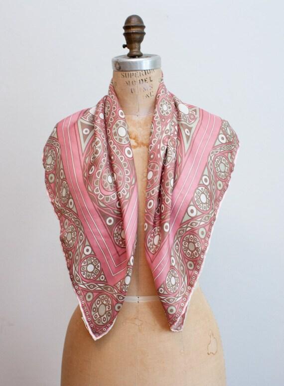 vintage silk scarf / richard allan / ornate pattern on pink