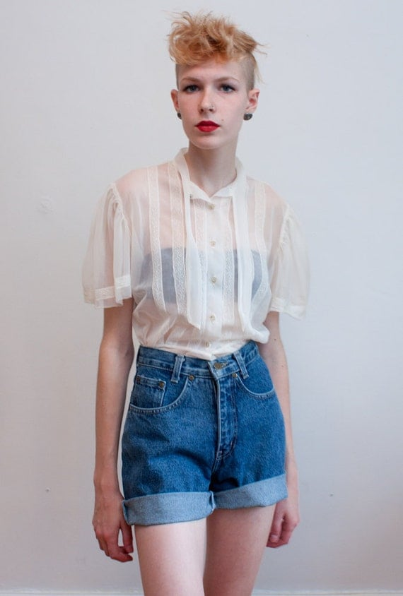 vintage 1970s sheer top / boho blouse / M