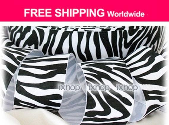 "5 Yards 1.5"" 38mm Zebra Stripe (Black / White) Grosgrain Ribbon ..... 7100/99 2381 ..... FREE SHIPPING Worldwide"