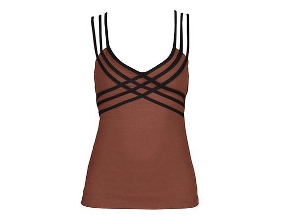 Brown X Tank Top - Womens Tank Top - Brown Tank Top - Yoga Clothing - Brown Tank - Organic Cotton