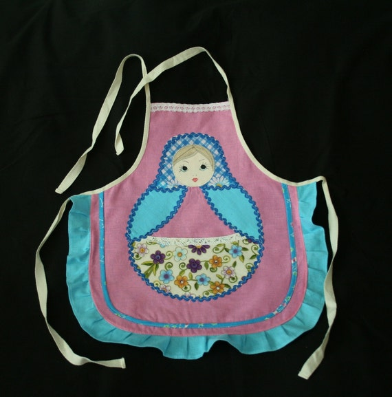 Girl's Apron inspired by Russian Matryoshka Doll with pocket 027m 2012