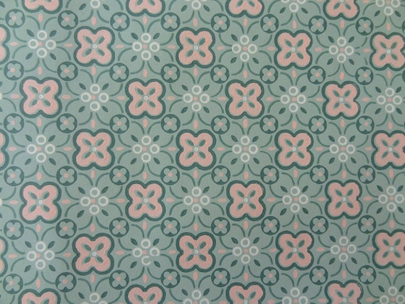Vintage Wallpaper - Pink and Green Floral Geometric - 1 Yard