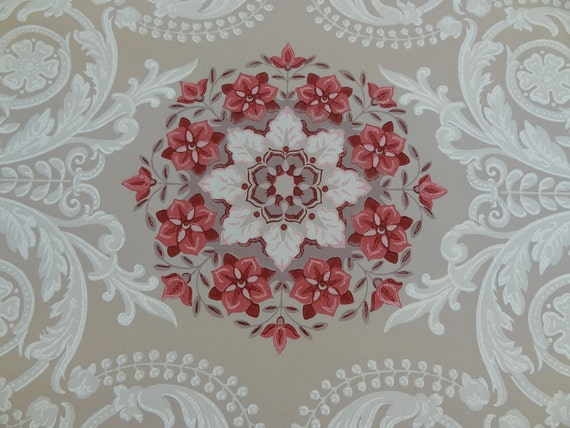 Vintage Wallpaper - Fancy Filigree with Medallions Maroon Pink Cream Taupe 1940 - 1 Yard