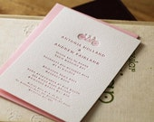 Letterpress wedding invitation with envelope - Choose motif, font and colour from the options