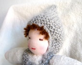 Waldorf doll, baggy doll, soft, organic, cuddly, lovey, cosy, sack doll, natural, eco friendly, grey