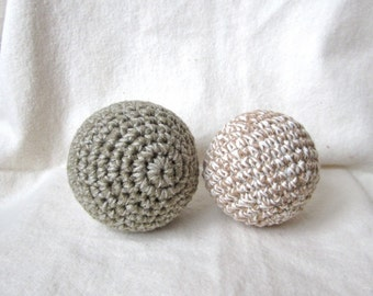 Play ball, organic, colorgrown cotton, rattle sound, safe, green, brown, crochet, baby, shower gift, neutral, pastel, natural, vegan