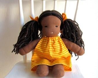 Organic Waldorf doll 12 inch, dark skin, colored, African, long hair, yellow, orange, pink