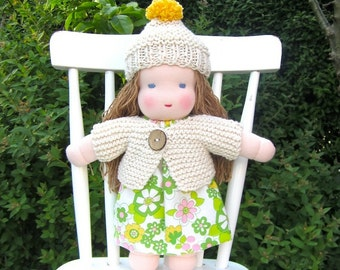 Waldorf doll, organic, blue eyed, eco friendly, long haired, white, green, cosy, soft, natural, 12 inch