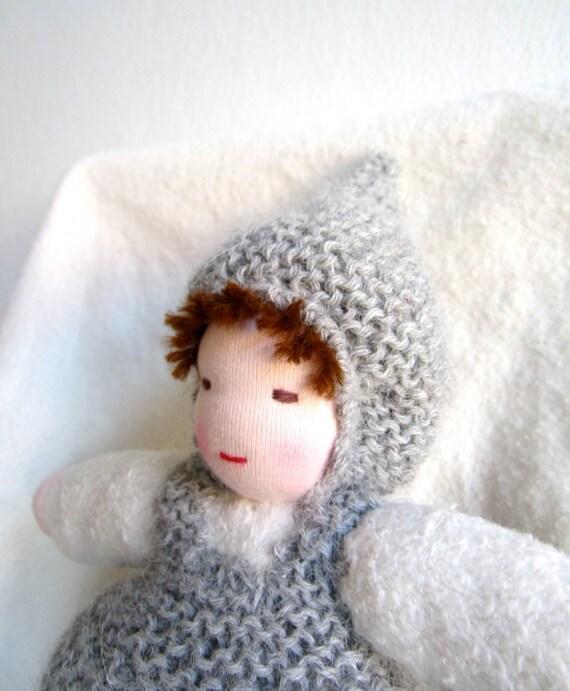 Waldorf doll, baggy doll, soft, organic, cuddly, lovey, cosy, sack doll, natural, eco friendly, grey