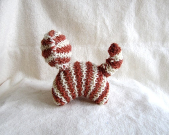 Cat, organic knitted, stripy, wool, white, brown, waldorf, toy, eco-friendly, baby, toddler, gift