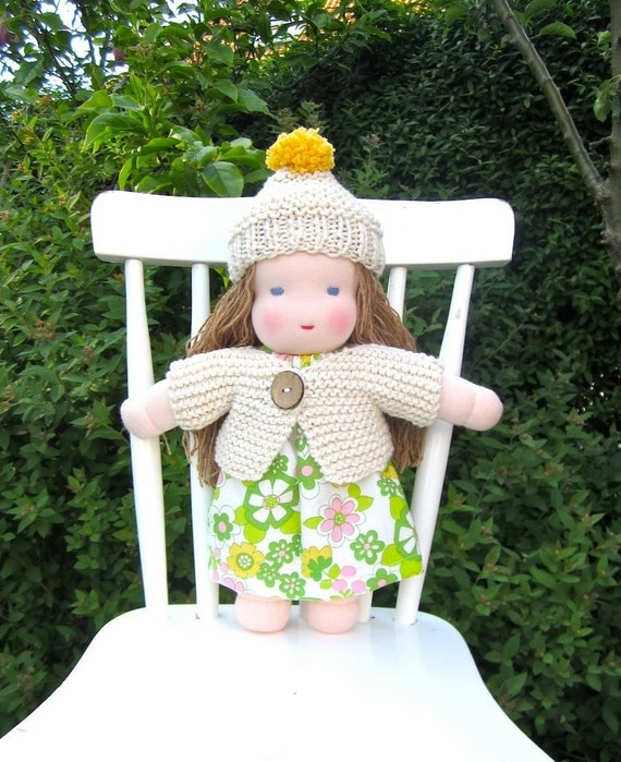 Reserved for Jessica - Waldorf doll, organic, blue eyed, eco friendly, long haired, white, green, cosy, soft, natural, 12 inch